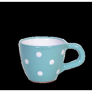 Kávés csésze türkiz-fehér pötty