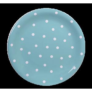 Lapos tányér, pasztell türkiz-fehér pöttyös