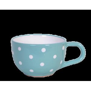 Teás csésze 3,8 dl, türkiz-fehér pöttyös