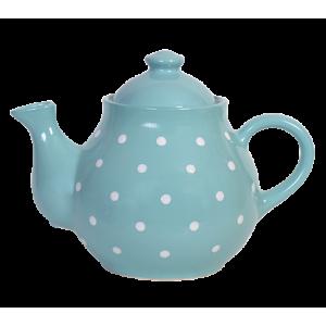 Teás kanna, türkiz-fehér pöttyös