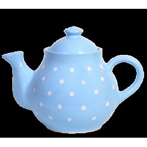 Teás kanna, pasztell kék-fehér pöttyös
