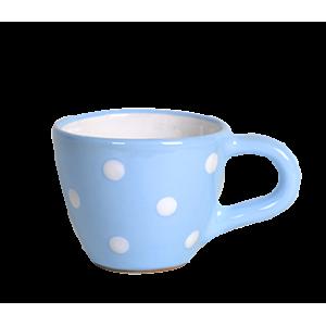 Kávés csésze pasztell kék-fehér pötty