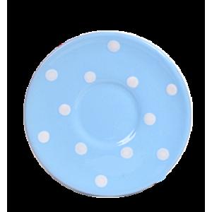 kávés csészealj pasztell kék- fehér pötty