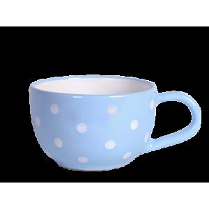Teás csésze 3,8 dl, pasztell kék-fehér pöttyös