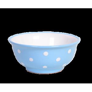 Müzlis tál kicsi, pasztell kék-fehér pöttyös