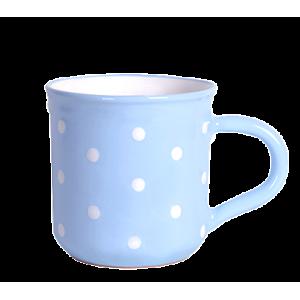 Reggeliző bögre 5,5 dl, pasztell kék-fehér pöttyös
