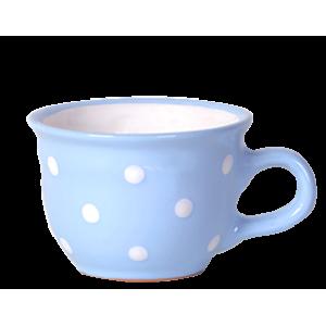 Cappuccino-teás csésze 2,5 dl, pasztellkék-fehér pöttyös