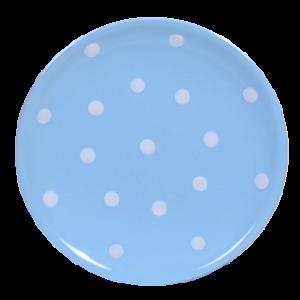 Desszertes tányér, pasztell kék-fehér pöttyös
