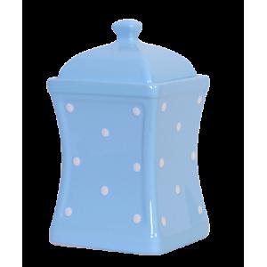 Íves fűszertartó nagy, pasztell kék-fehér pöttyös