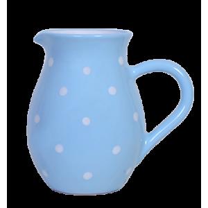 Hagyományos kancsó, pasztell kék-fehér pöttyös