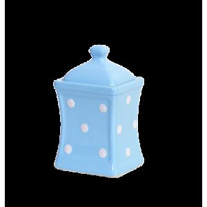 Íves fűszertartó kicsi, pasztell kék-fehér pöttyös