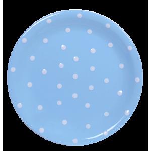 Lapos tányér, pasztell kék-fehér pöttyös