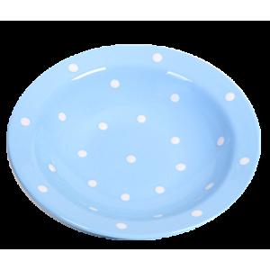 Mélytányér, pasztell kék-fehér pöttyös