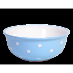 Müzlis tál nagy, pasztell kék-fehér pöttyös