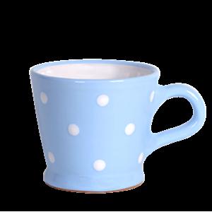 Trapéz bögre 2 dl, pasztell kék-fehér pöttyös
