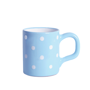 Egyenes bögre 2,8 dl, pasztell kék-fehér pöttyös