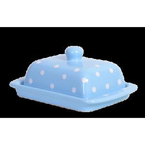 Vajtartó (25 dkg-os vajhoz), pasztell kék-fehér pöttyös
